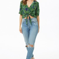 Palm Leaf Print Tie-Front Top