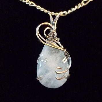 Wire Wrapped Aquamarine Sterling Silver Necklace