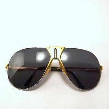 Vintage 80s Carrera Boeing Gold And Silver Tone Aviator Sunglasses.