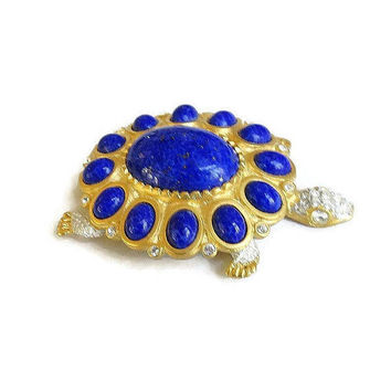 Faux Lapis Glass Cabochons & Clear Rhinestones Turtle Brooch Vintage signed KJL Kenneth J. Lane