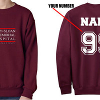 Custom name and number on back Grey Sloan Memorial Hospital Maroon Crew neck Sweatshirt