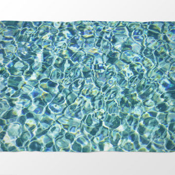 Pool Water - Fleece Blanket, Crystal Blue Throw Cover Home Accent, Boho Chic Beach Surf Decor Coral Fleece. In 30x40, 50x60 & 60x80 Inches