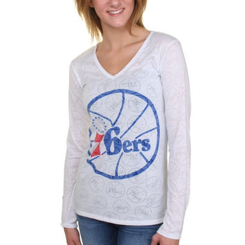 Philadelphia 76ers Women's Sublime Burnout V-Neck Long Sleeve T-Shirt – White