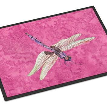 Dragonfly on Pink Indoor or Outdoor Mat 18x27