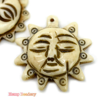 Sun Pendant,  1pc,  32mm x 34mm,  Carved Bone Sun, Hemp Pendant - P67