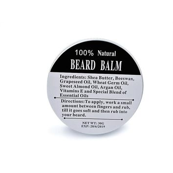Preboily Top Quality 30G Natural Beard Oil Conditioner Beard Balm for Beard Growth and Organic Moustache Wax for Beard Styling