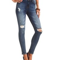"Refuge ""Hi-Rise Skinny"" Destroyed Dark Wash Jeans"