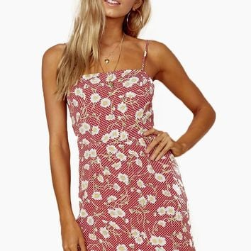 Day Party Mini Dress - Red Polka Dot Floral