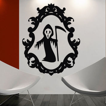 Wall Decal Happy Halloween Vinyl Sticker Decals Grim Reaper Holiday Witch C180