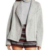 BCBGeneration Fleece Asymmetric Zip Jacket | Bloomingdales's