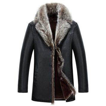 Long Thicken Warm Big Fur Collar Fleece Lined Leather Jacket