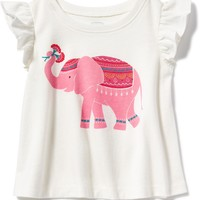 Elephant-Graphic Flutter-Sleeve Tee for Baby | Old Navy