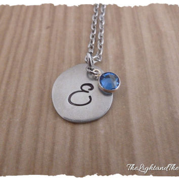 Pewter Monogram Necklace  hand stamped with a letter of your choice  Swarovski Elements birthstone  Gift for her  mother  grandmother