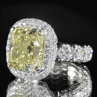 4.03ct Radiant Cut Yellow Diamond Pave Flower Halo Ring | World's Best