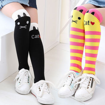 1 Pair HOT SALE Toddlers Kids Girls Baby Knee High Stockings School Cotton Tights Striped Leg Warmers for 1-8 Years