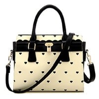 Sweet Hearts Pattern Contrast Color Handbag Shoulder Messenger Bag