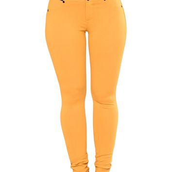 Mustard Buttoned Empire Waist Patched Leggings - S