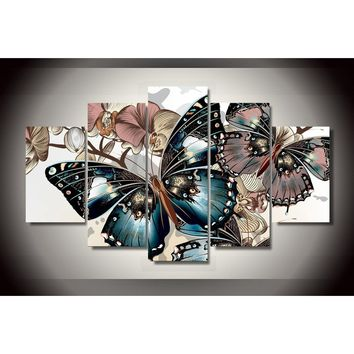 HD Printed Abstract Floral Butterfly Painting on Canvas Room Decoration Print Poster Picture Canvas