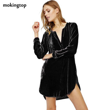 mokingtop Shirt Dress Loose V-Neck Long Sleeve Women Mini Dress Warm Winter Autumn Dress Vestidos De Mujer#112