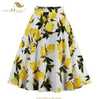 Skirts Womens Sexy American Apparel Midi Skirt Floral Print Dot Black Red Blue Plus Size Summer High Waist Skirt Tutu faldas 020