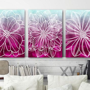 Floral Watercolor Wall Art, Watercolor Flower Decor, Fuchsia Bedroom Wall Decor, Dorm CANVAS or Prints, Floral Bathroom Decor, Set of 3