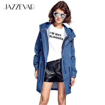 JAZZEVAR autumn winter high fashion street woman casual hooded trench denim cooton washed outerwear loose clothing good quality