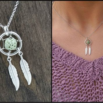 Lava Stone Dream Catcher Aromatherapy Necklace Essential Oil Diffuser Necklace