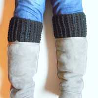 Chunky Boot Cuffs in Black, Wool Blend, MADE TO ORDER.
