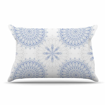 "Julia Grifol ""Mandalas In Blue"" Vector Geometric Pillow Sham"
