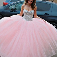 Custom Made Sweetheart Neck Pink Ball Gown, Pink Prom Dresses, Formal Dresses