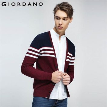 Giordano Men Sweater Combed Cotton V Neck Cardigan Stripes Jacquard Ribbed Crewneck Warm Sweaters Homme Uomo Maglione Brand