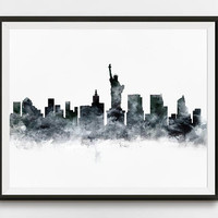 New York Print, New York Skyline, Watercolor, Poster, NY, Office Decor, Travel, Gift, City Print, Cityscape, Download, Wall Art