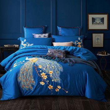 Peacock Embroidered Egyptian Cotton Bedding Sets