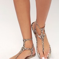 Pixie Natural Snake Print Gladiator Sandals