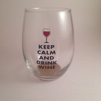 Keep Calm and Drink Wine glass with glitter stem