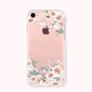Floral iPhone 7 Case, iPhone 7 Plus Case, iPhone 6/6S Case, iPhone 6/6S Plus Case, iPhone 5/5S/SE Case, SAMSUNG Galaxy Case - White Blossom
