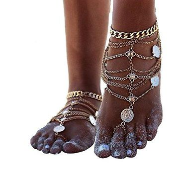 AUGUAU Zhenhui 1 Pair Boho Vintage Silver Tone Gold Tone Coin Blessing Symbol Tassel Indian Anklets Foot Jewelry 2 Pcs