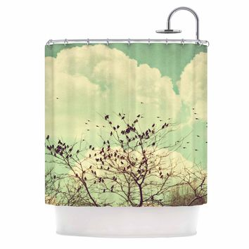 """Sylvia Coomes """"Birds of a Feather"""" Green Brown Shower Curtain - Outlet Item"""