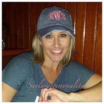 Distressed ball cap with custom monogrammed initials