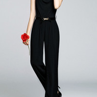 Chic Black Sleeveless Jumpsuit With Belt