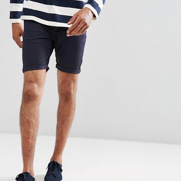 ASOS Super Skinny Chino Shorts In Navy at asos.com