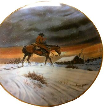 Cowboy Christmas Limited Edition Plate by Austin Deuel