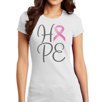 Hope - Breast Cancer Awareness Ribbon Juniors T-Shirt