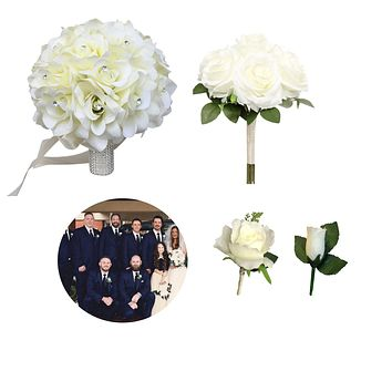 Build Your wedding package-Ivory Rose bouquet corsage boutonniere