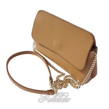 Italian Tan Genuine Leather Clutch with Removable Shoulder Strap
