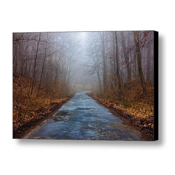 Forest Photograph // Nature Photography, Forest Road, Mysterious Fog Landscape, Mist, Trees // Fine Art Photography, Photo Print Or Canvas
