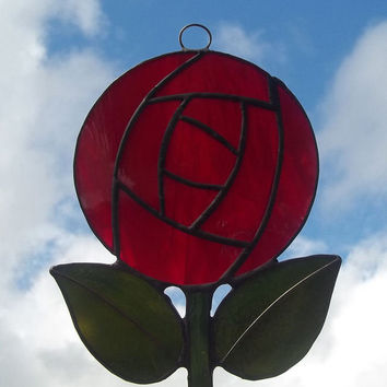 Red Rose Suncatcher, Charles Rennie Mackintosh Style Rose Suncatcher