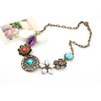 Brazilian Style Turquoise Crystal Flowers Necklace