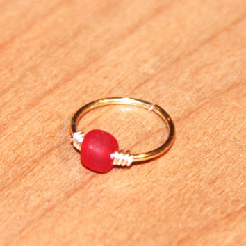 Small Cartilage Earrings, Red Beaded Nose Ring, Nose Hoop, Ear Cuff, Helix Hoop, Nose Rings, Seamless Hoop, Piercing Jewelry