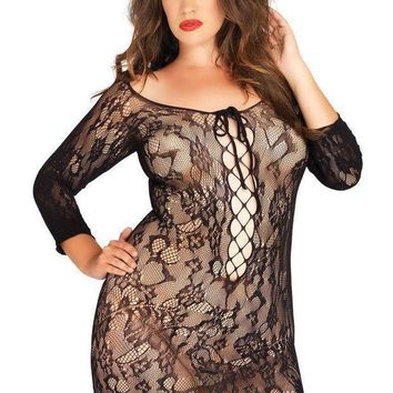 Long Sleeved Floral Lace Mini Dress With Lace Up Net Detail Plus Si Black